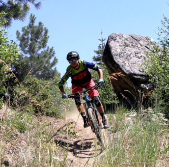 Riders decent on mountain biking trails in Idaho.