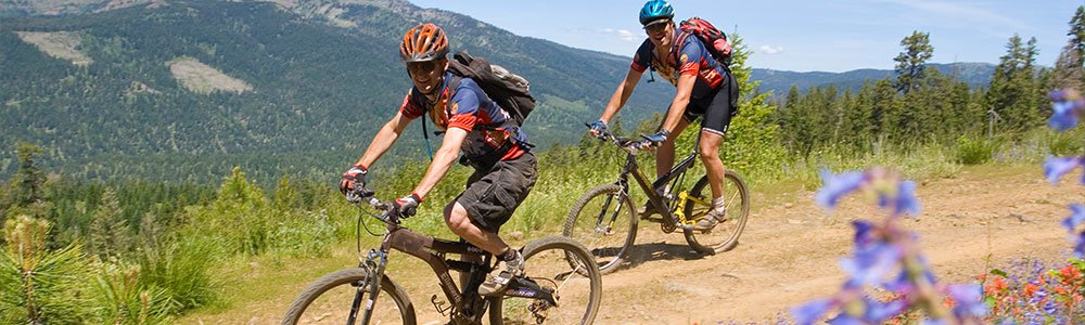 First-time mountain biker on trail