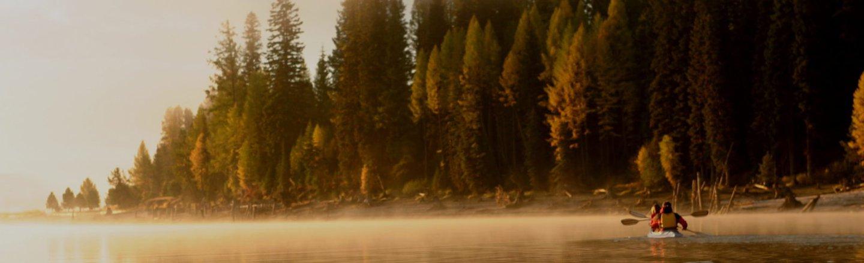 Lakeside kayaking together